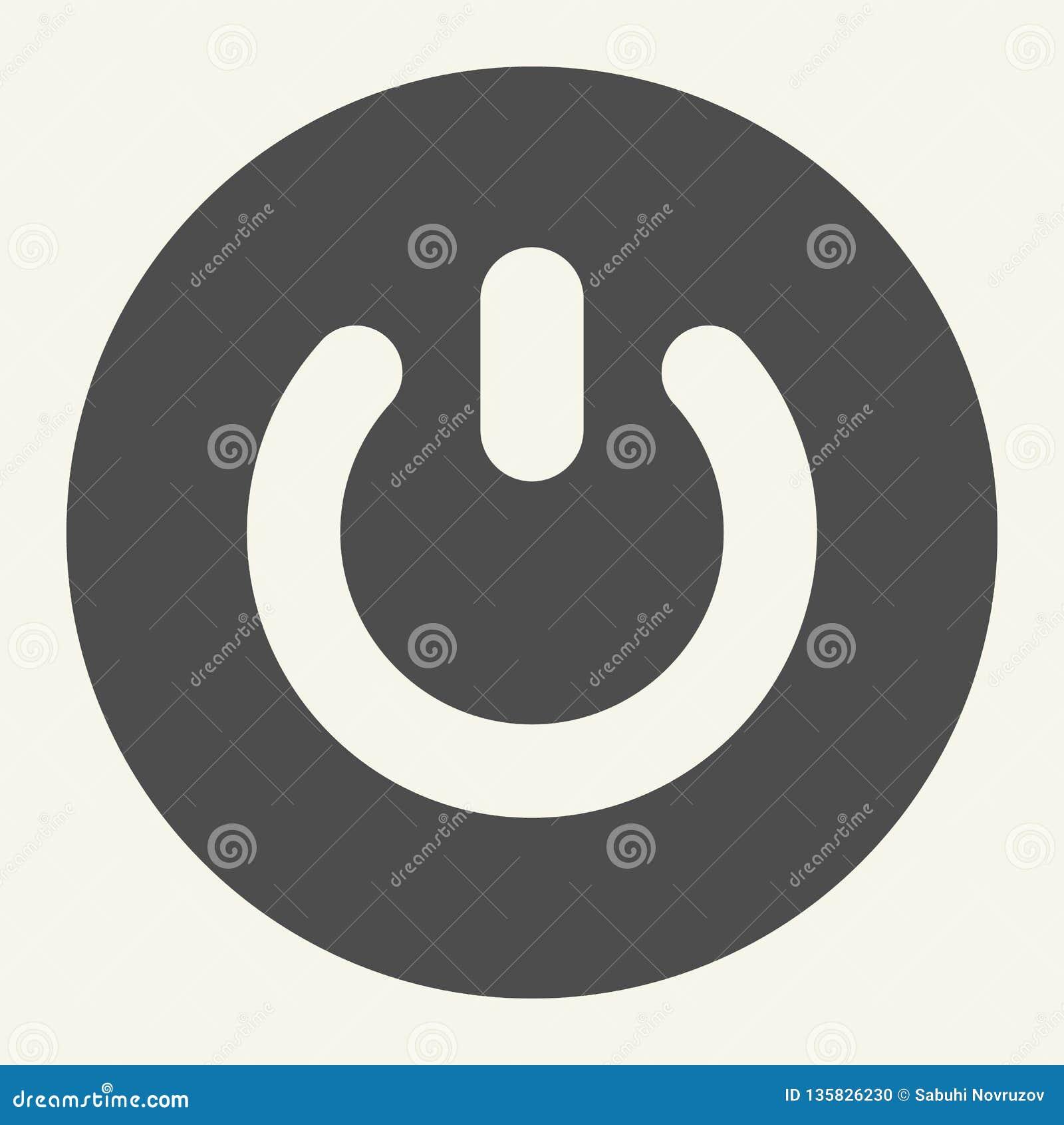 Feste Ikone des An-/Aus-Schalter Schaltervektorillustration lokalisiert auf Weiß Auf weg vom Knopf Glyph-Artentwurf entworfen für