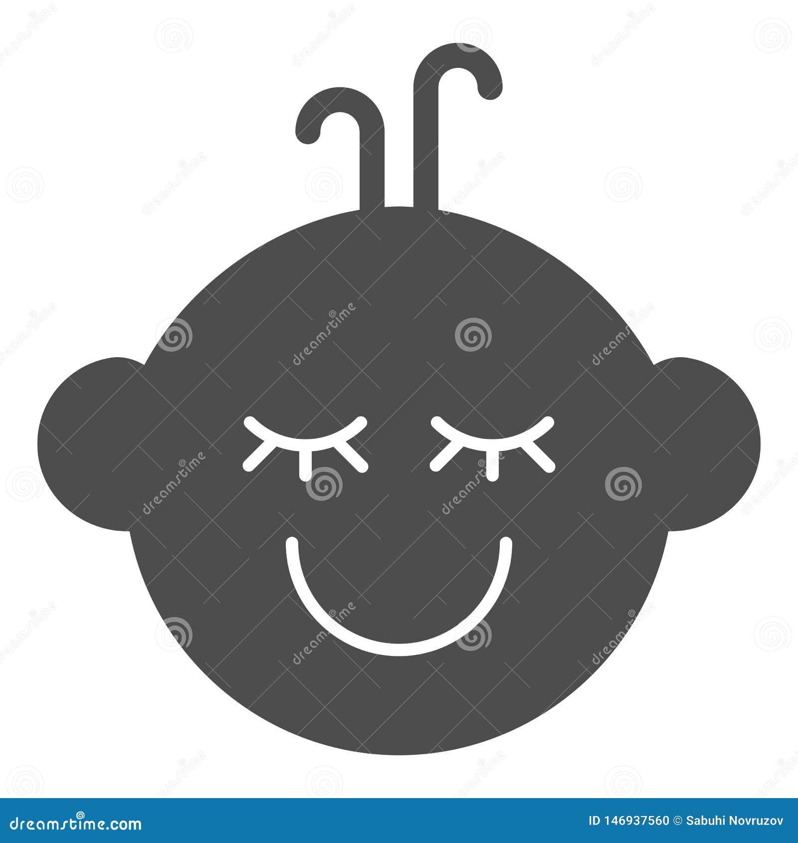 Feste Ikone des Babys Kindergesichts-Vektorillustration lokalisiert auf Wei? Kinderjungenlächeln Glyph-Artentwurf, entworfen für