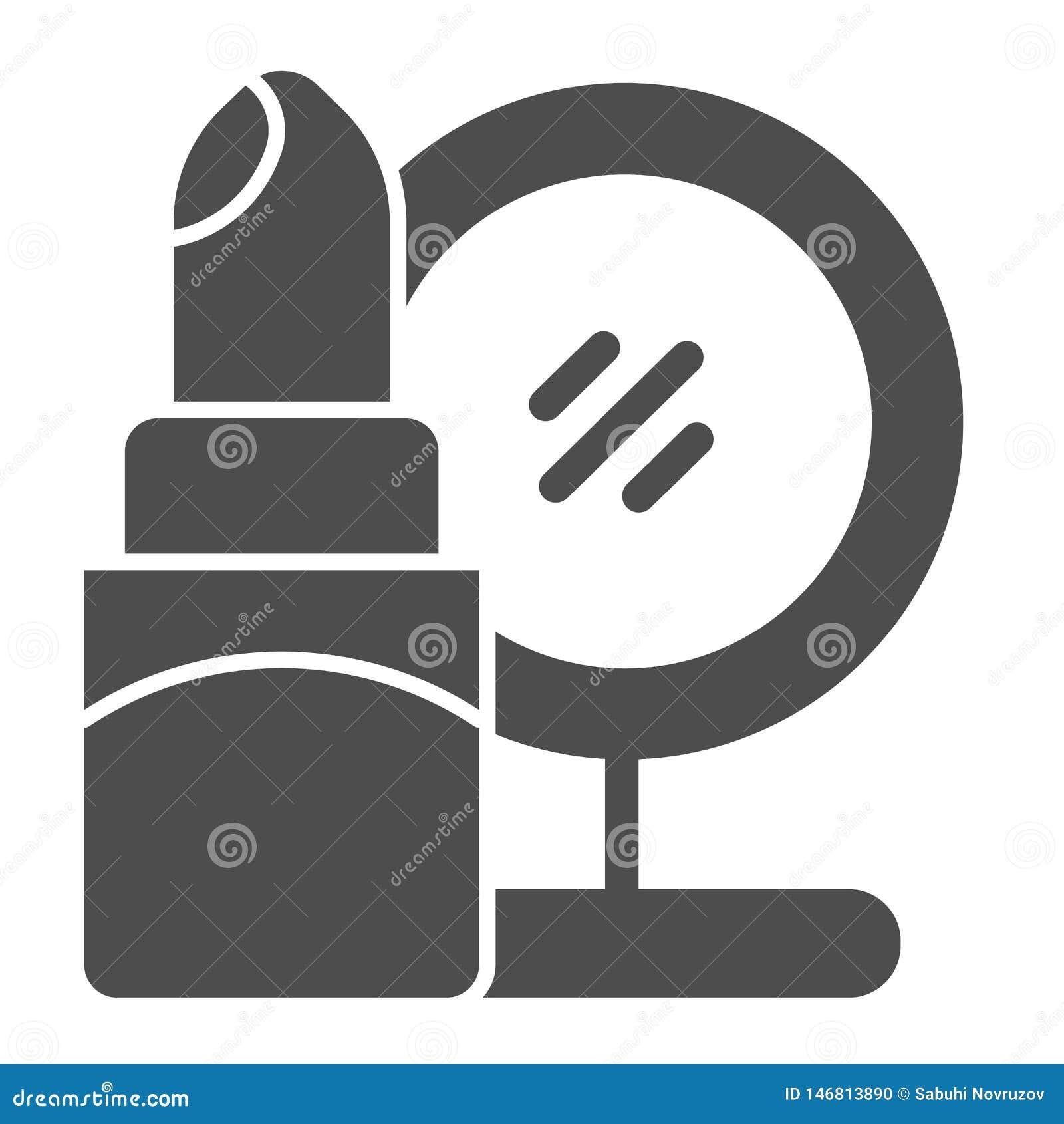 Feste Ikone des Lippenstifts und des Spiegels Kosmetikvektorillustration lokalisiert auf Wei? Make-up Glyph-Artentwurf, entworfen
