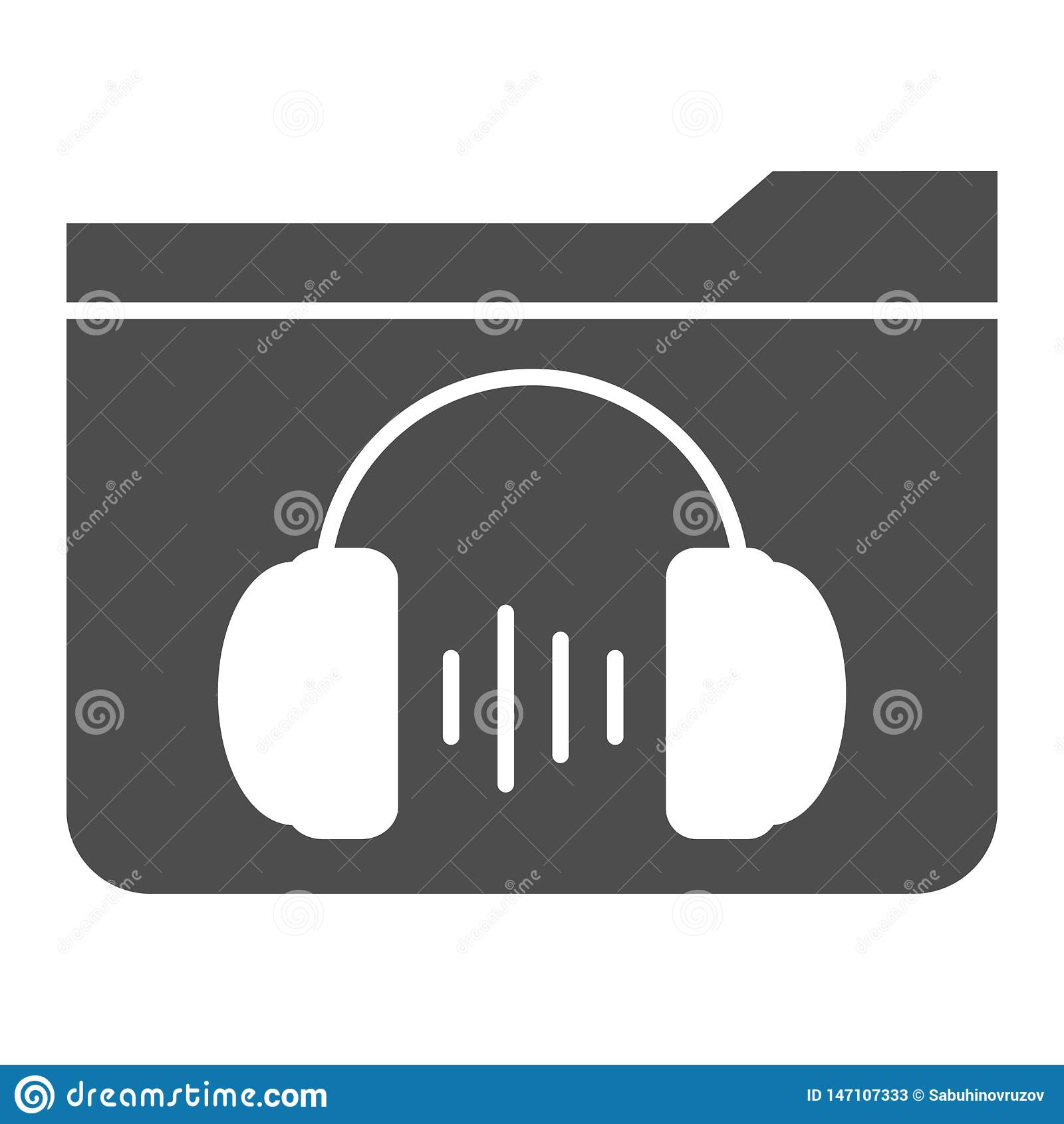 Feste Ikone des Musikordners r Ordner mit Kopfhörer Glyph-Artentwurf