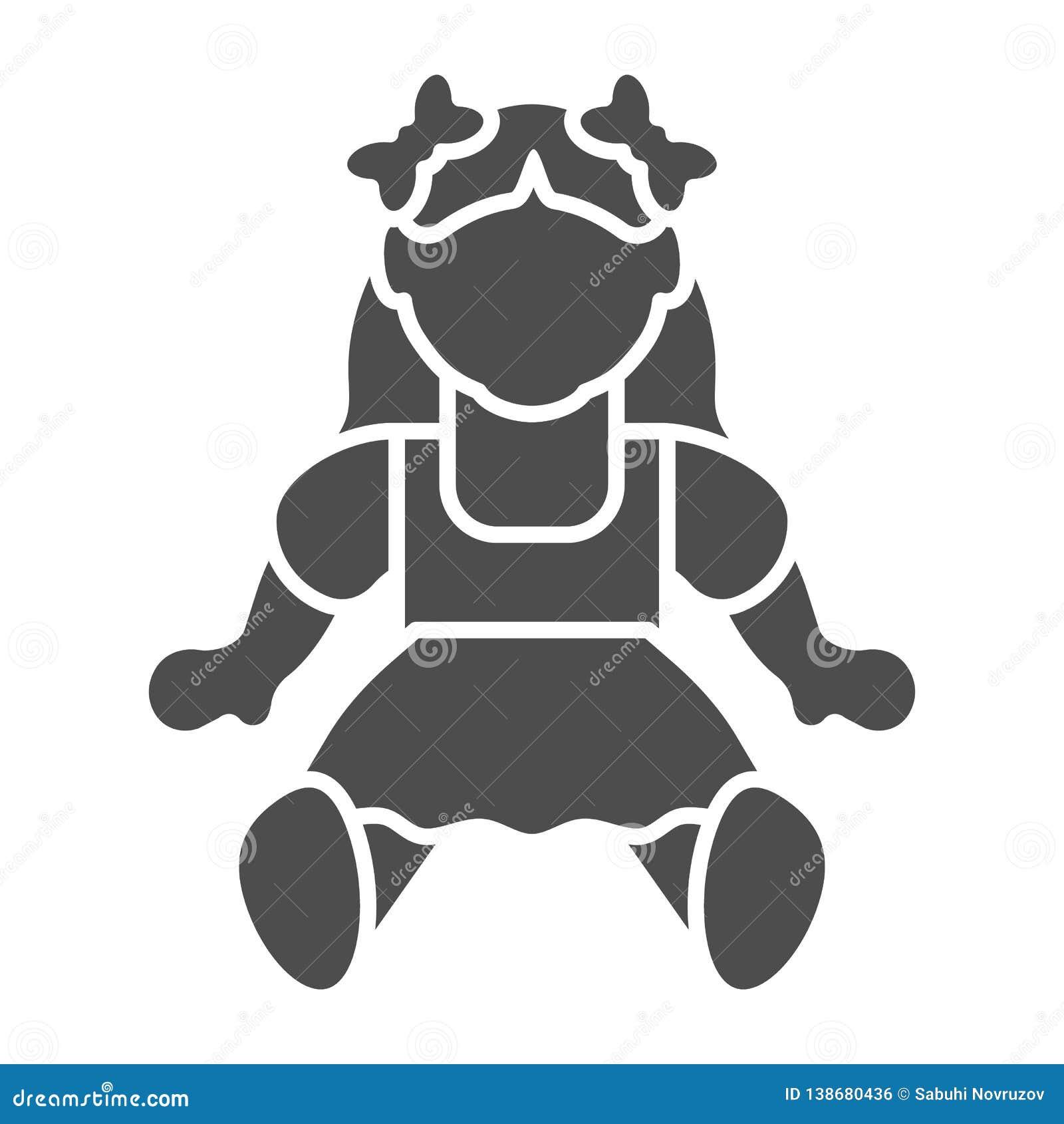 Feste Ikone des Puppenmädchens Spielzeugvektorillustration lokalisiert auf Weiß Kinderspielzeug Glyph-Artentwurf, bestimmt für Ne