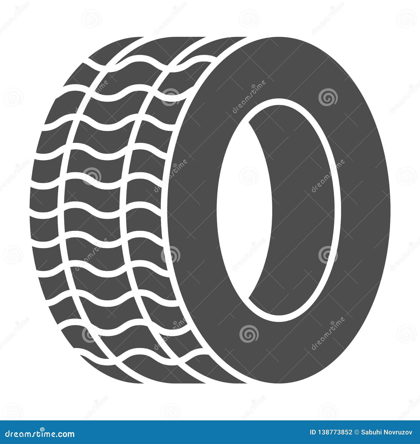 Feste Ikone des Reifens Automobilrad-Vektorillustration lokalisiert auf Weiß Autoreifen Glyph-Artentwurf, bestimmt für Netz