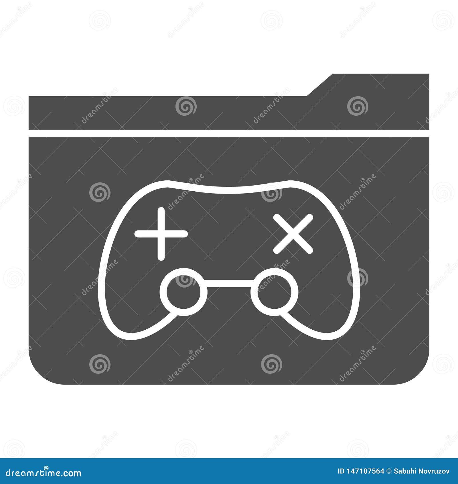 Feste Ikone des Spielordners Ordner mit der Spielauflagen-Vektorillustration lokalisiert auf Wei? Computerordner Glyph-Artentwurf