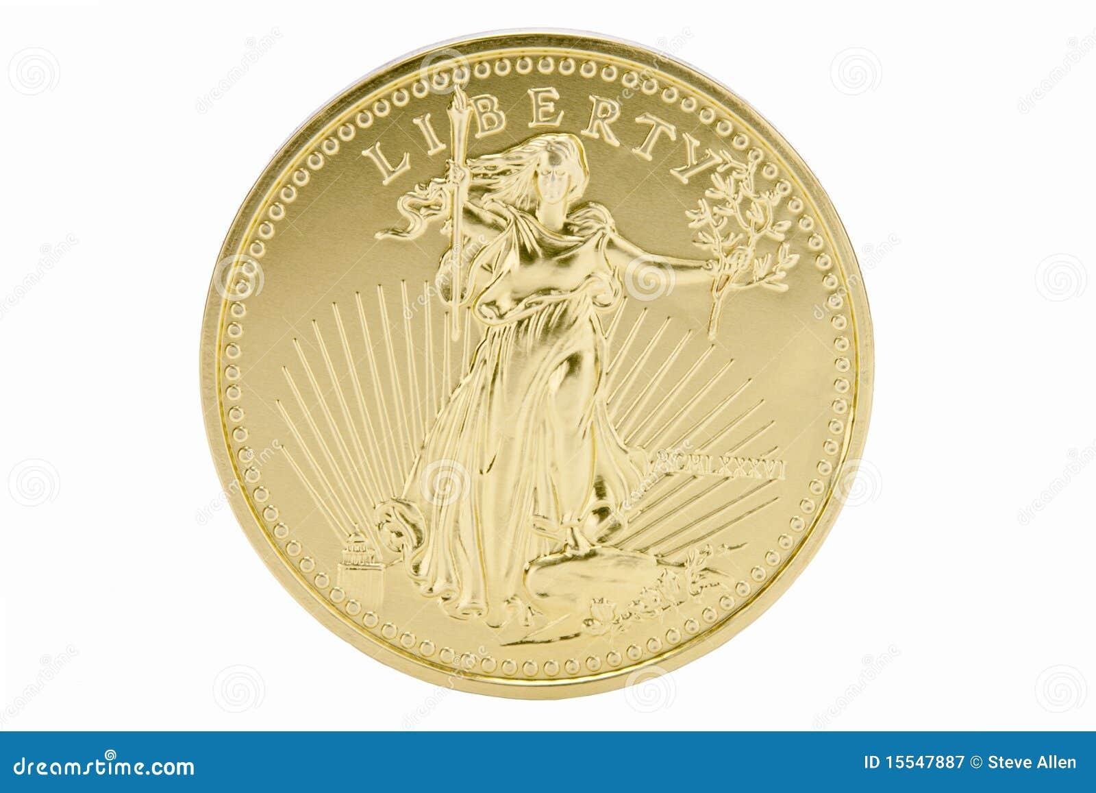 Festes Gold 1oz 50 Dollar Münze Usa Stockbild Bild Von Geld