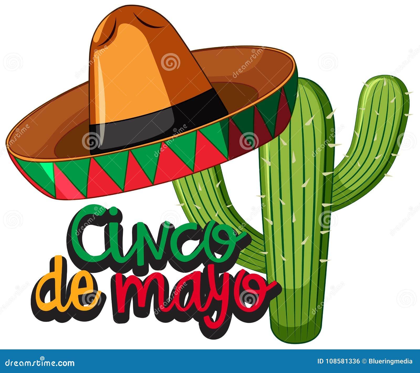 Festival De Cinco De Mayo Con El Cactus Y El Sombrero Ilustración ... 551b5a1a1ea