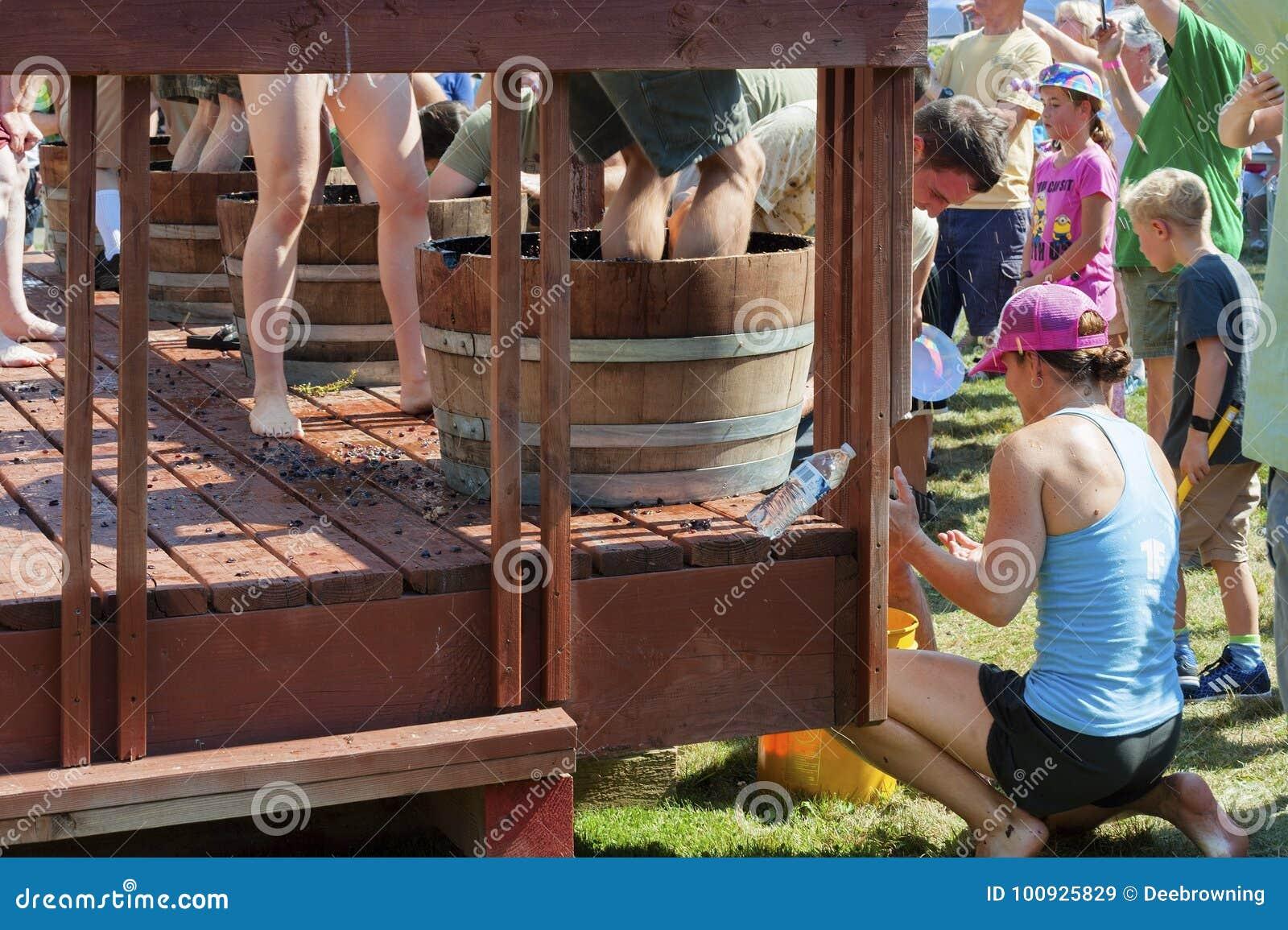 Festival de la cosecha del agolpamiento del vino en Carlton Oregon
