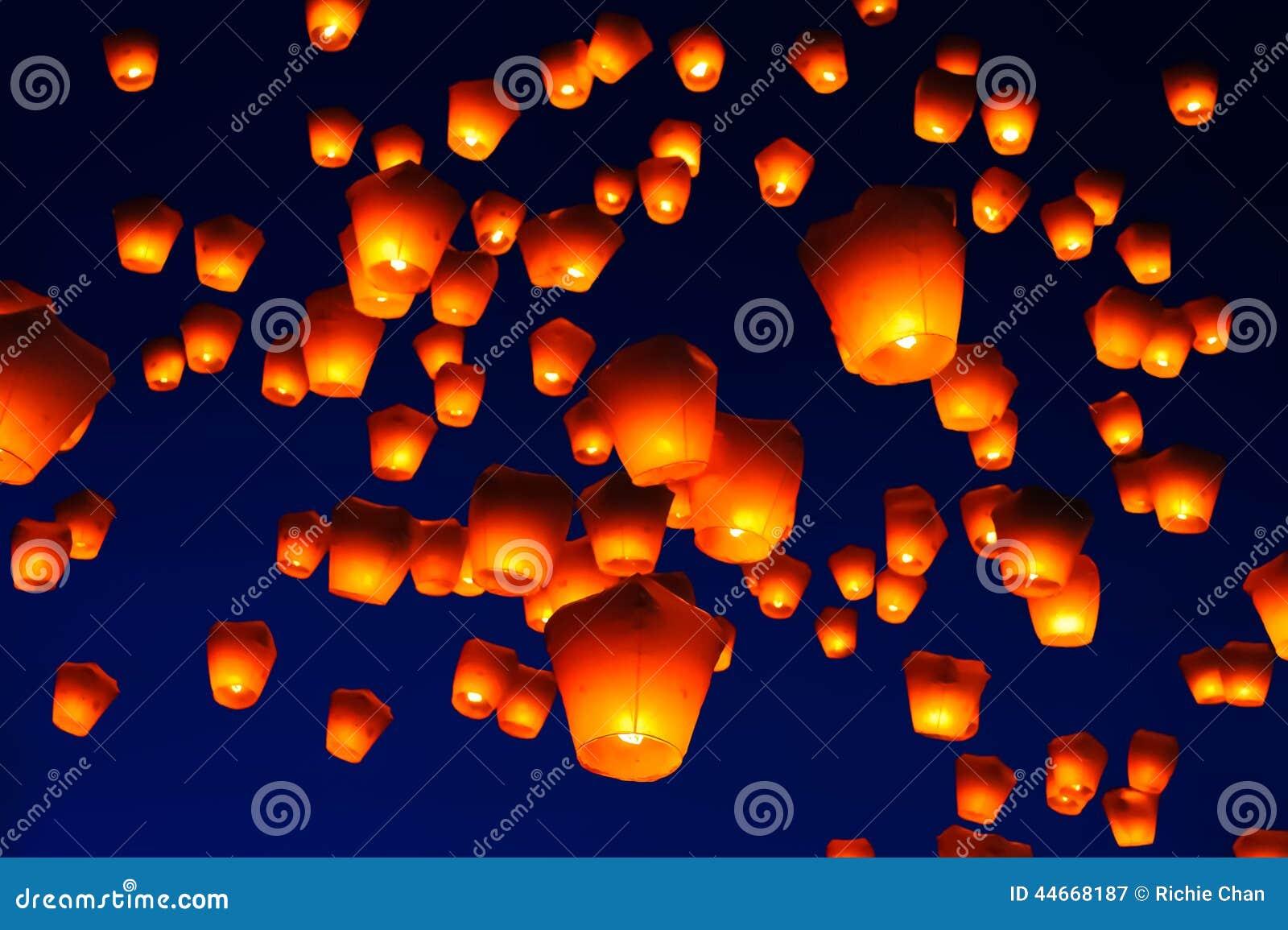 Festival de lanterna do céu em Taiwan
