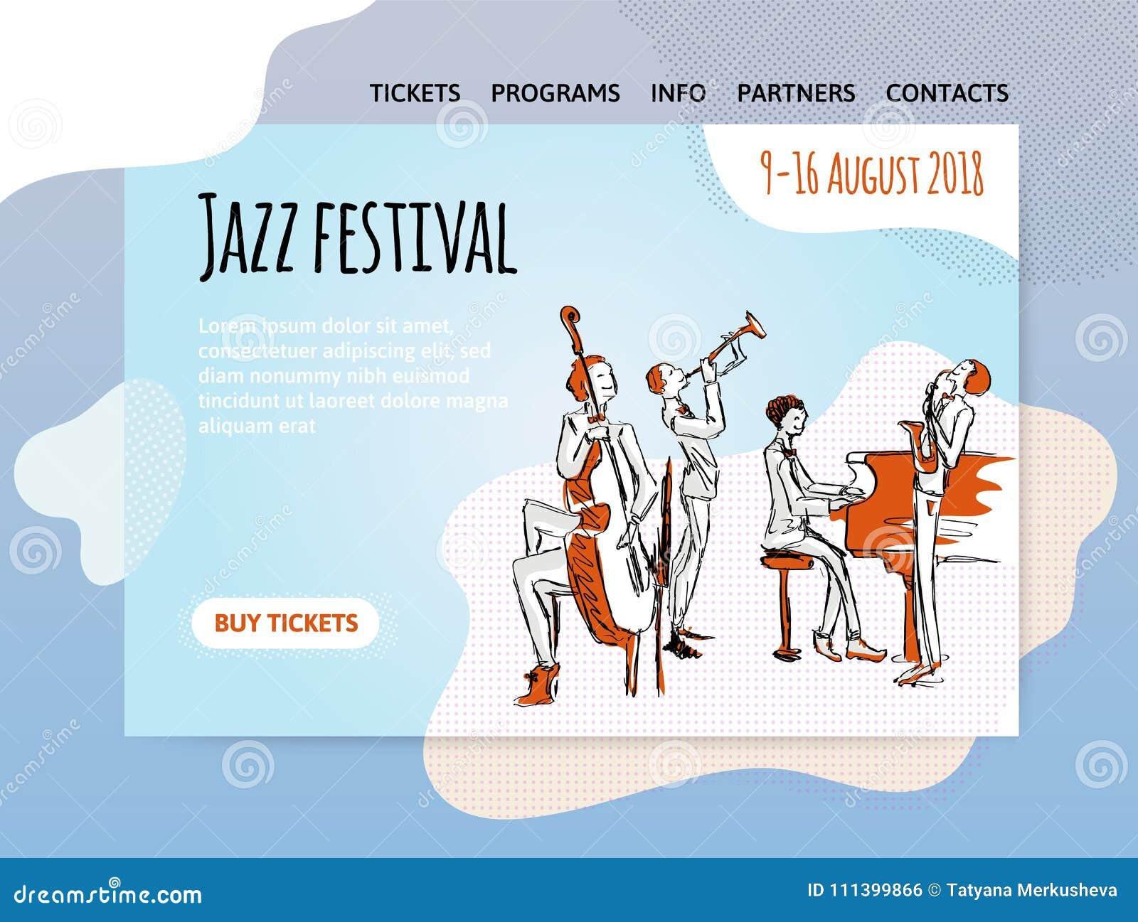 Festival De Música De Jazz, Cuarteto En Concierto Vector El ...