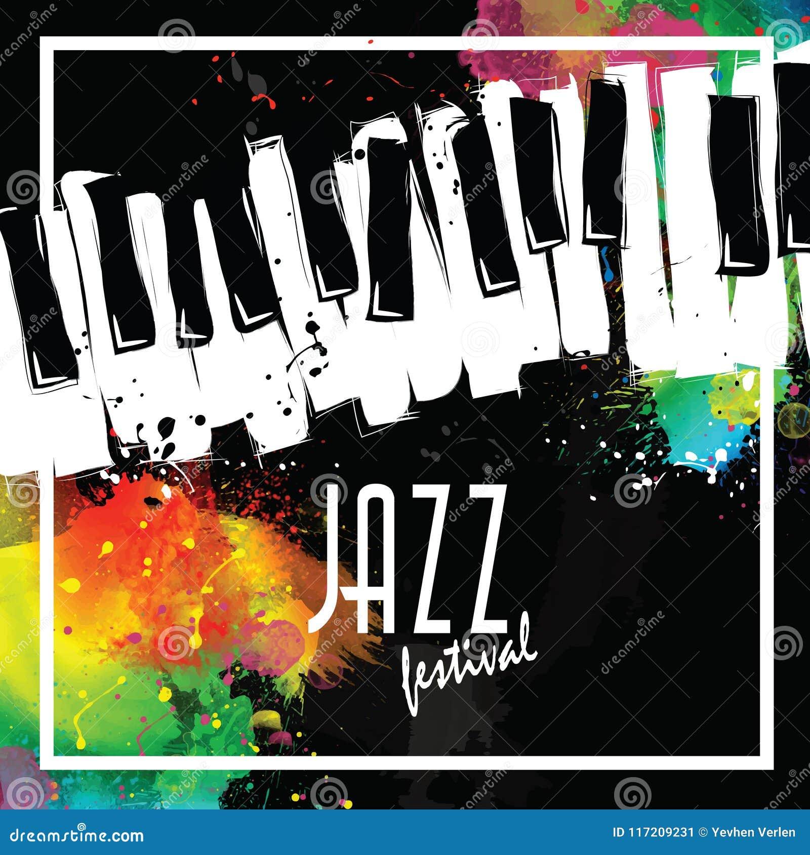 Festival de música de jazz, plantilla del fondo del cartel teclado con las notas de la música Diseño del vector del aviador