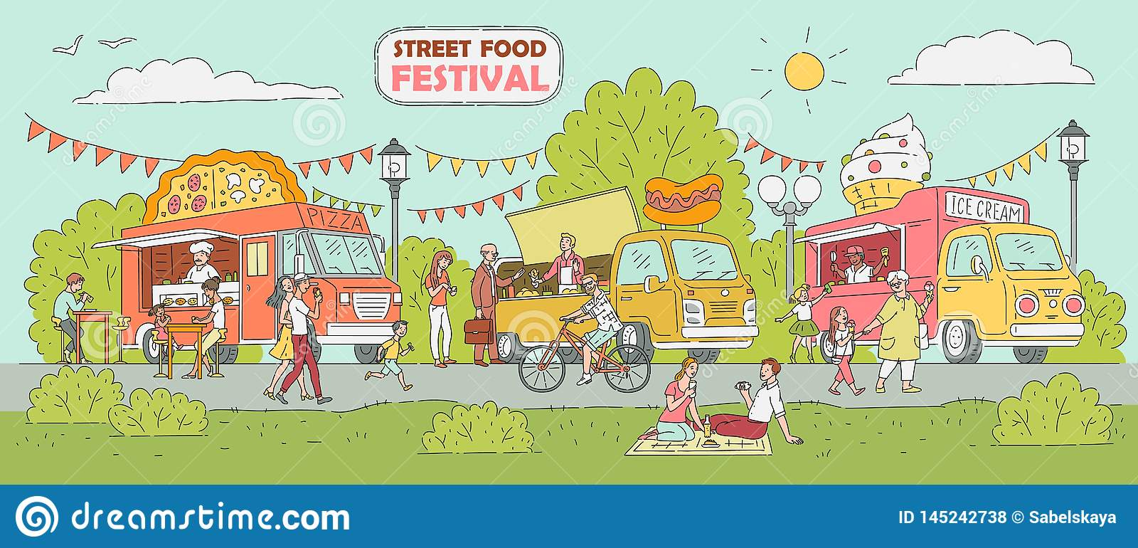 Festival de nourriture de rue - camion de crème glacée, voiture de vendeur de pizza, support de hot-dog