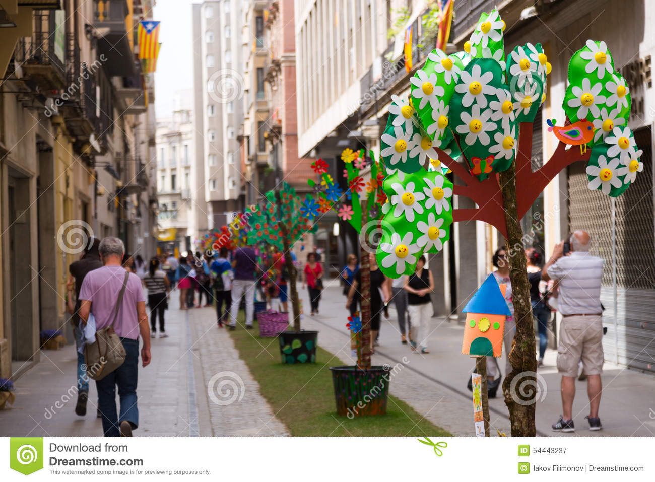 Decorations In Spain Festival Of Floral Decorations In Girona Editorial Photography