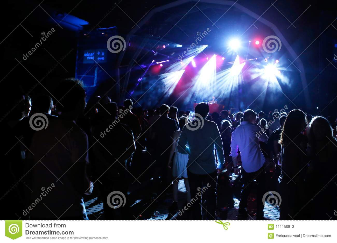 People watching live performance from back