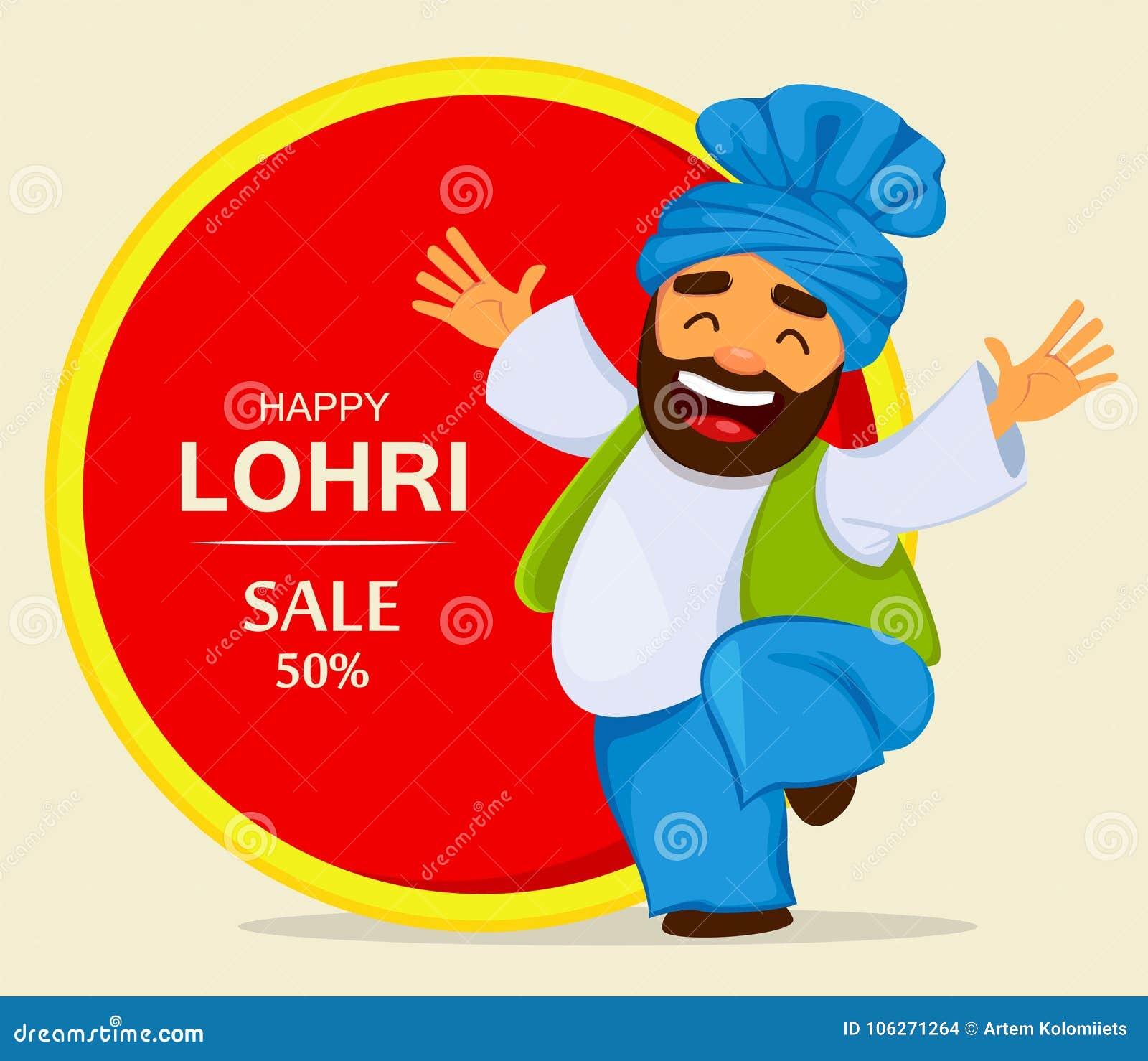 Festival popular Lohri del Punjabi popular del invierno Hombre divertido del sikh del baile
