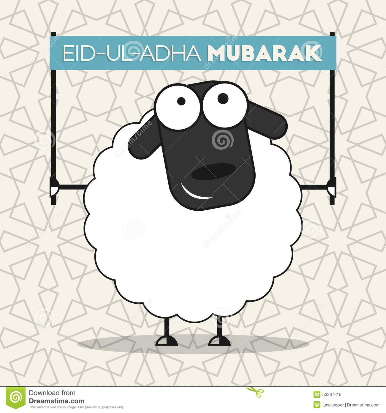 Cute sheep with banner on seamless islamic wallpaper pattern for ...