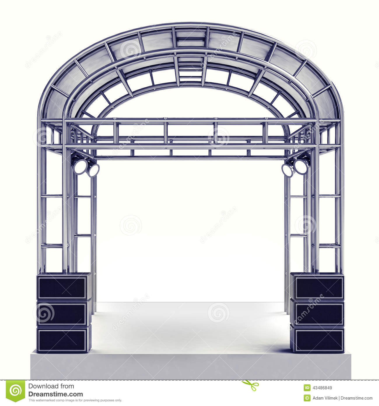 Staging Of Steel Images : Festival stage steel construction with speaker on white
