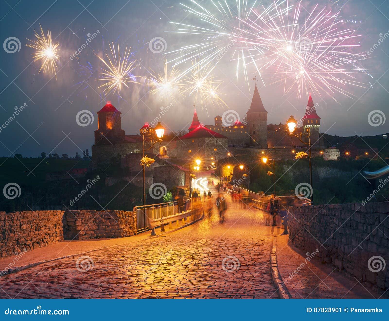 Festivalvuurwerk over het kasteel