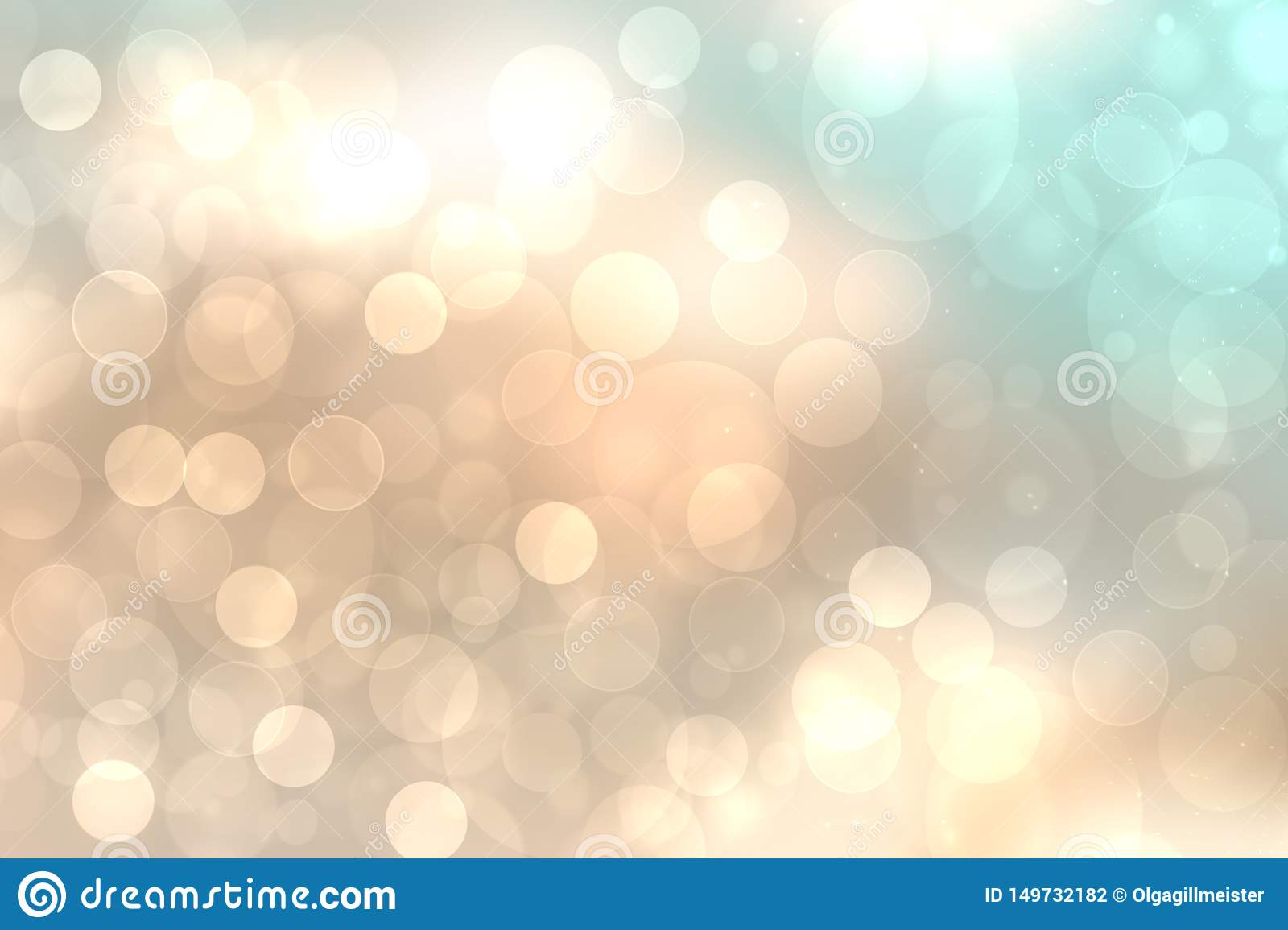 A festive abstract golden turquoise gradient background texture with glitter defocused sparkle bokeh circles. Card concept for