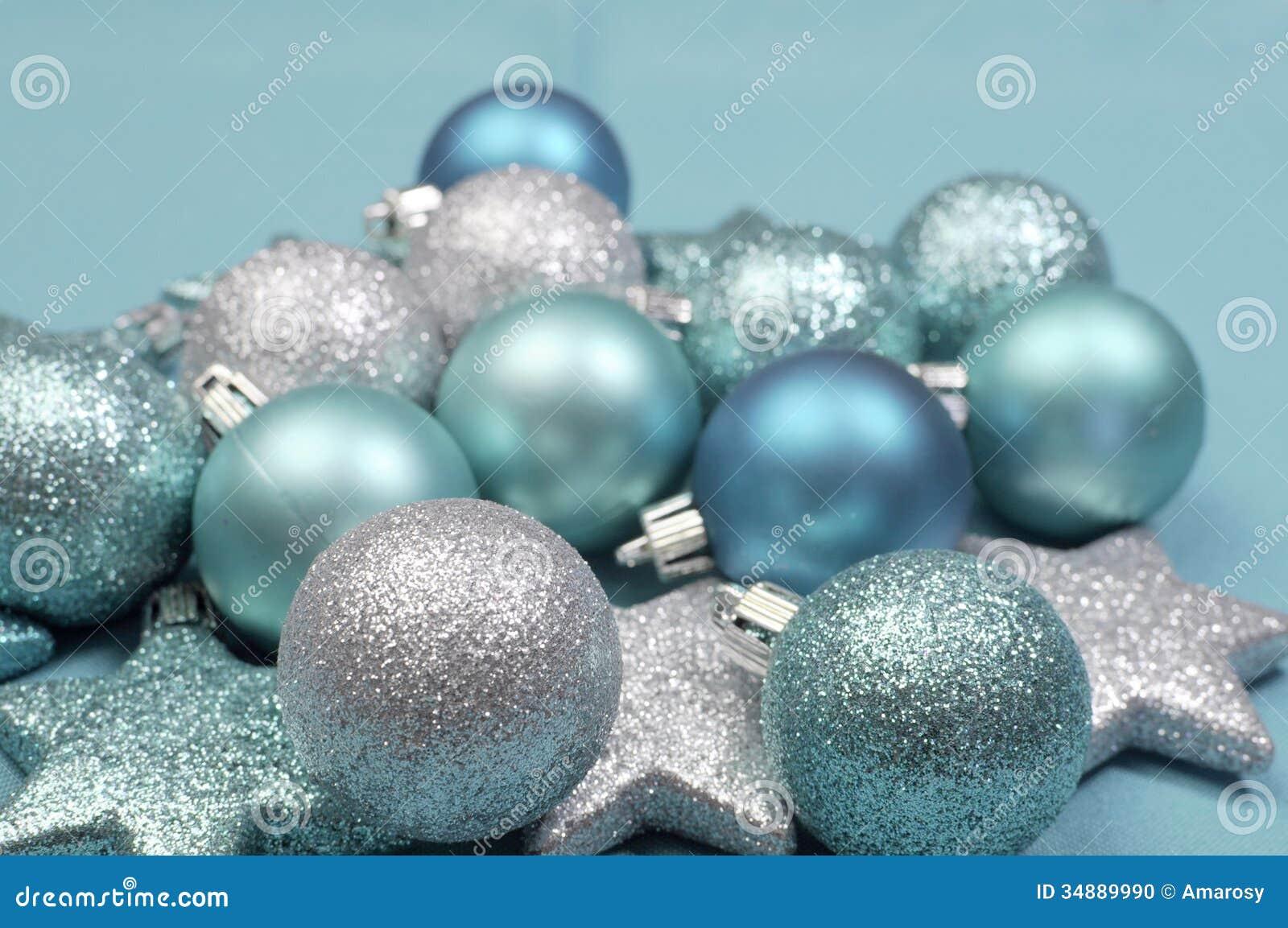 Festive Background Of Aqua Pale Blue Christmas Glitter Baubles ...
