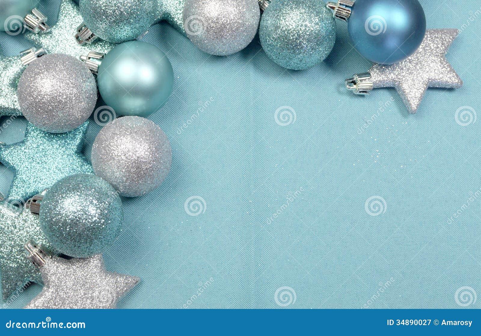 Festive Background Of Aqua Pale Blue Christmas Glitter
