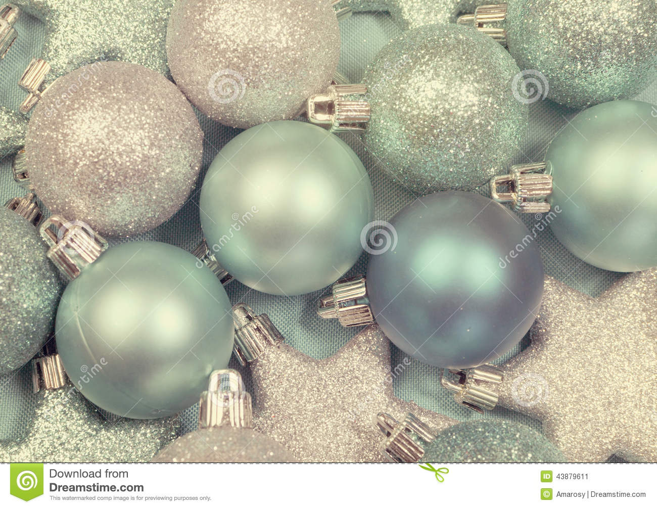 Festive Background Of Aqua Pale Blue Christmas Ornaments Stock ...