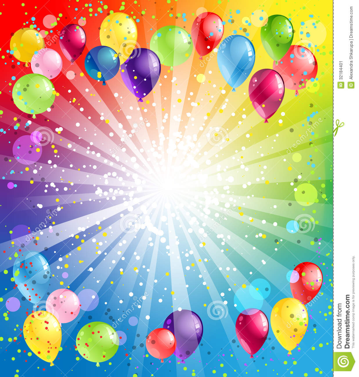 Festive background with balloons with space for text.