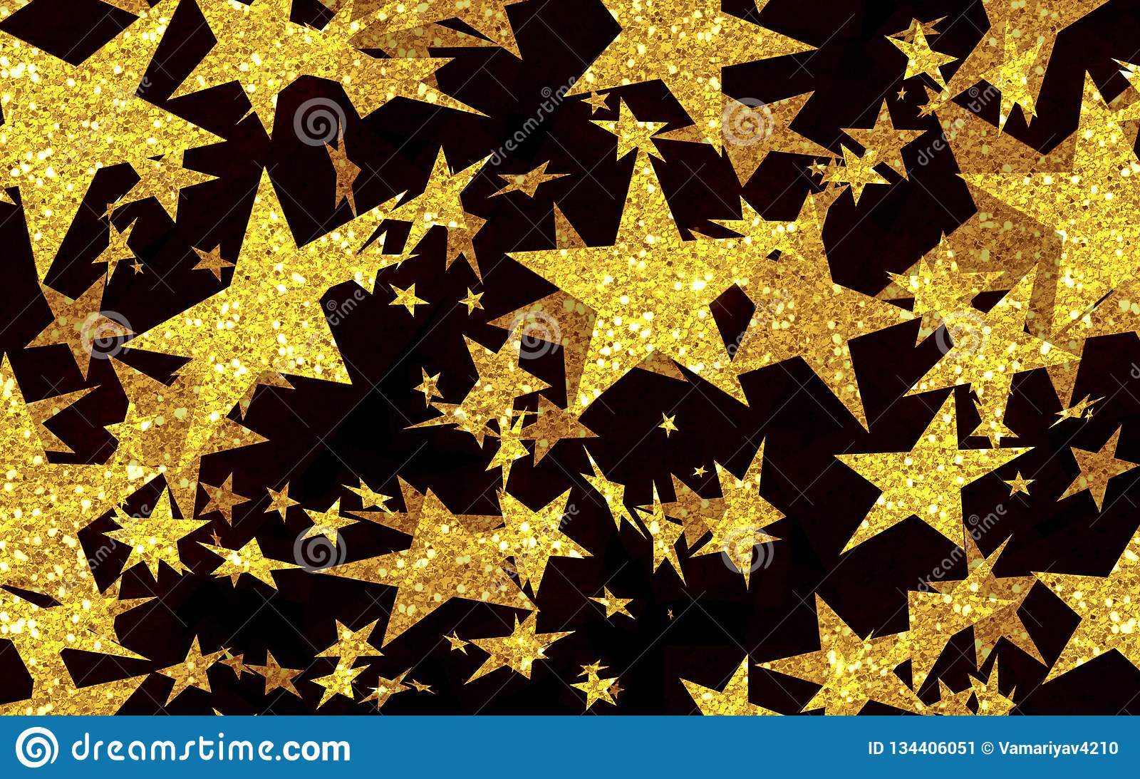 Festive Background Of Gold Stars Star Rain Shooting Stars