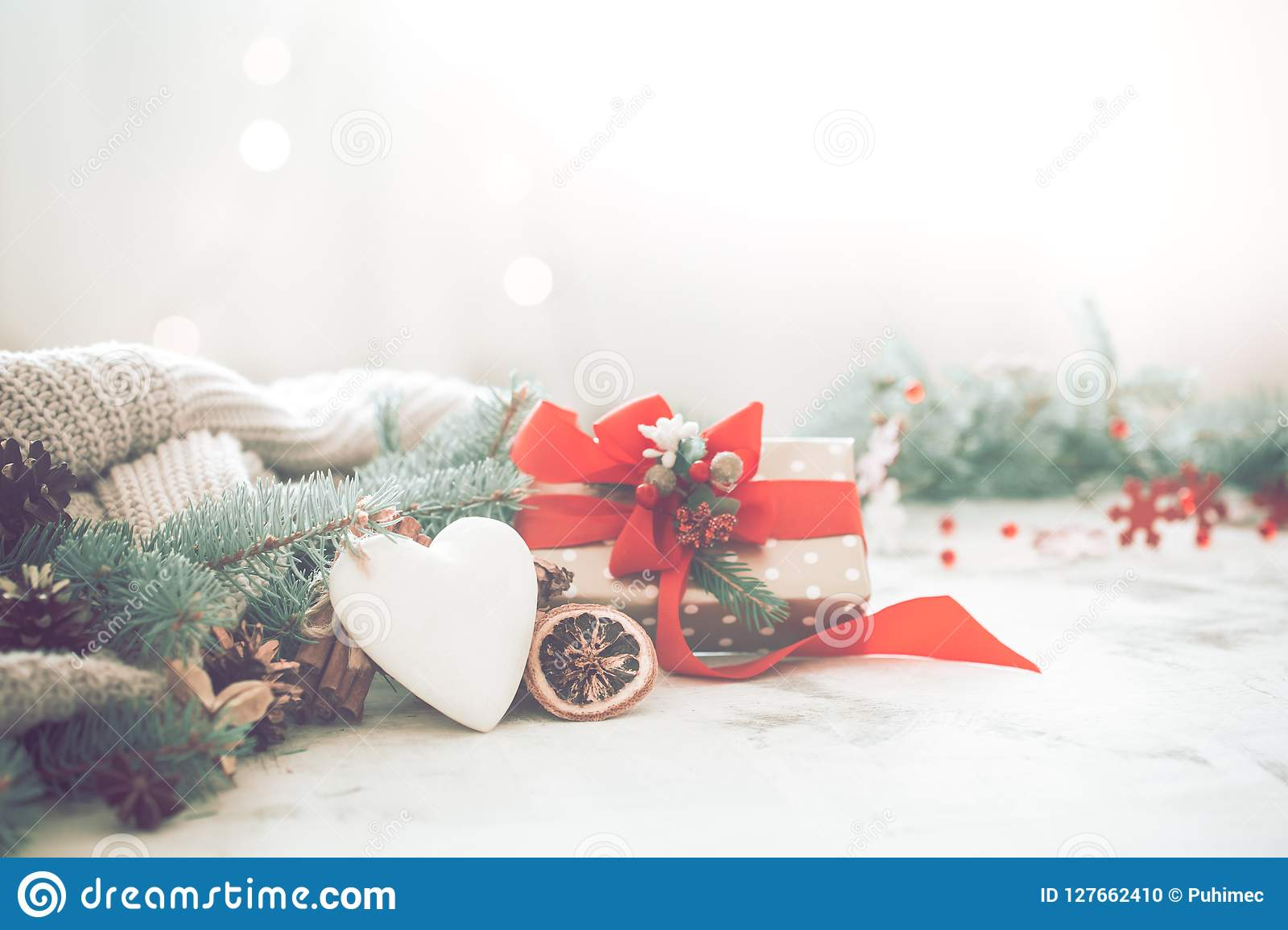 Festive Background With Heart And Gift, Christmas And Holiday Co ...