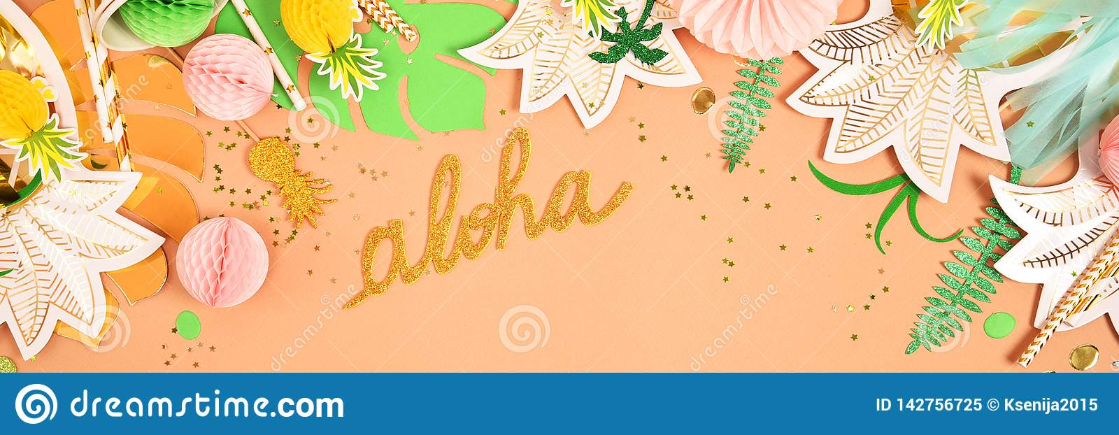 Christmas In Hawaii Party.Festive Background Tropical Theme Summer Hawaii Party
