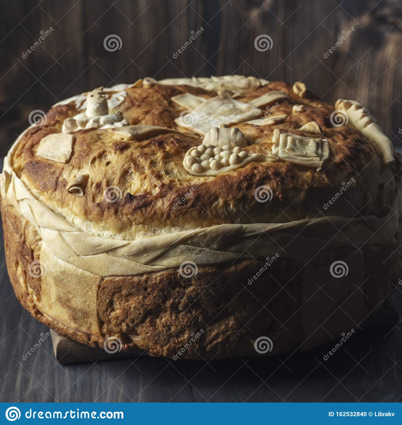 Festive bakery Holiday Bread on wooden background