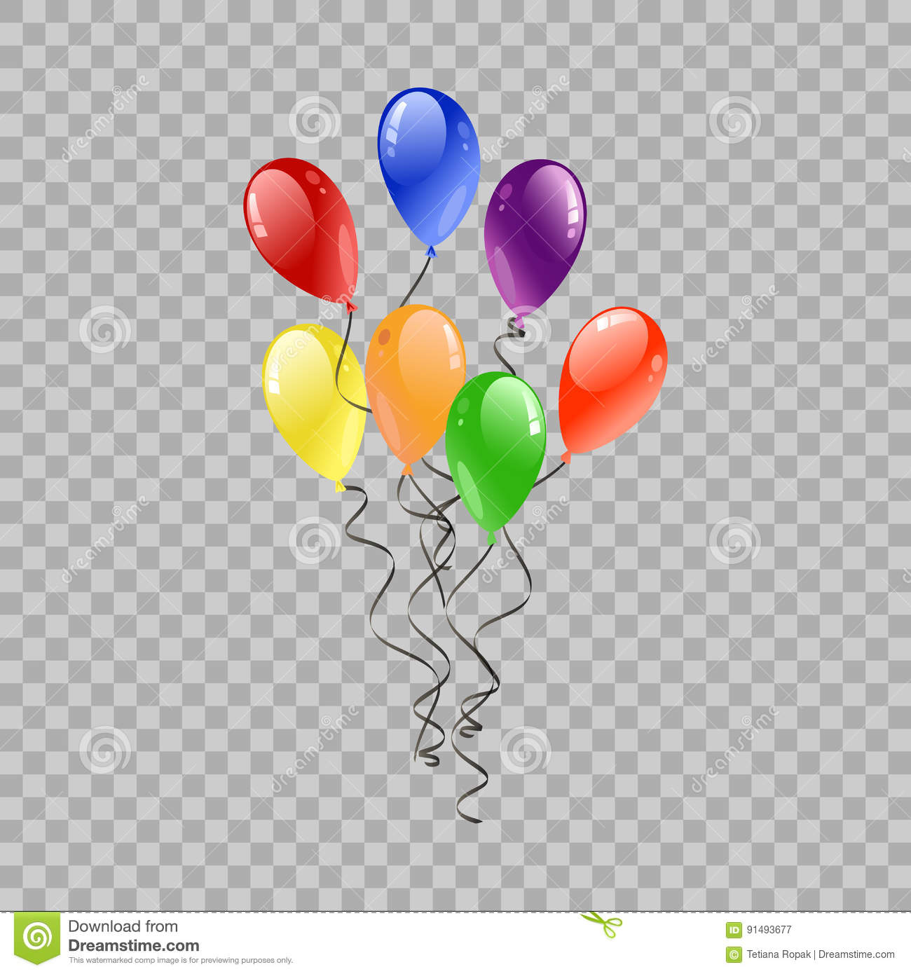 festive balloons flying for party and celebrations on transparent