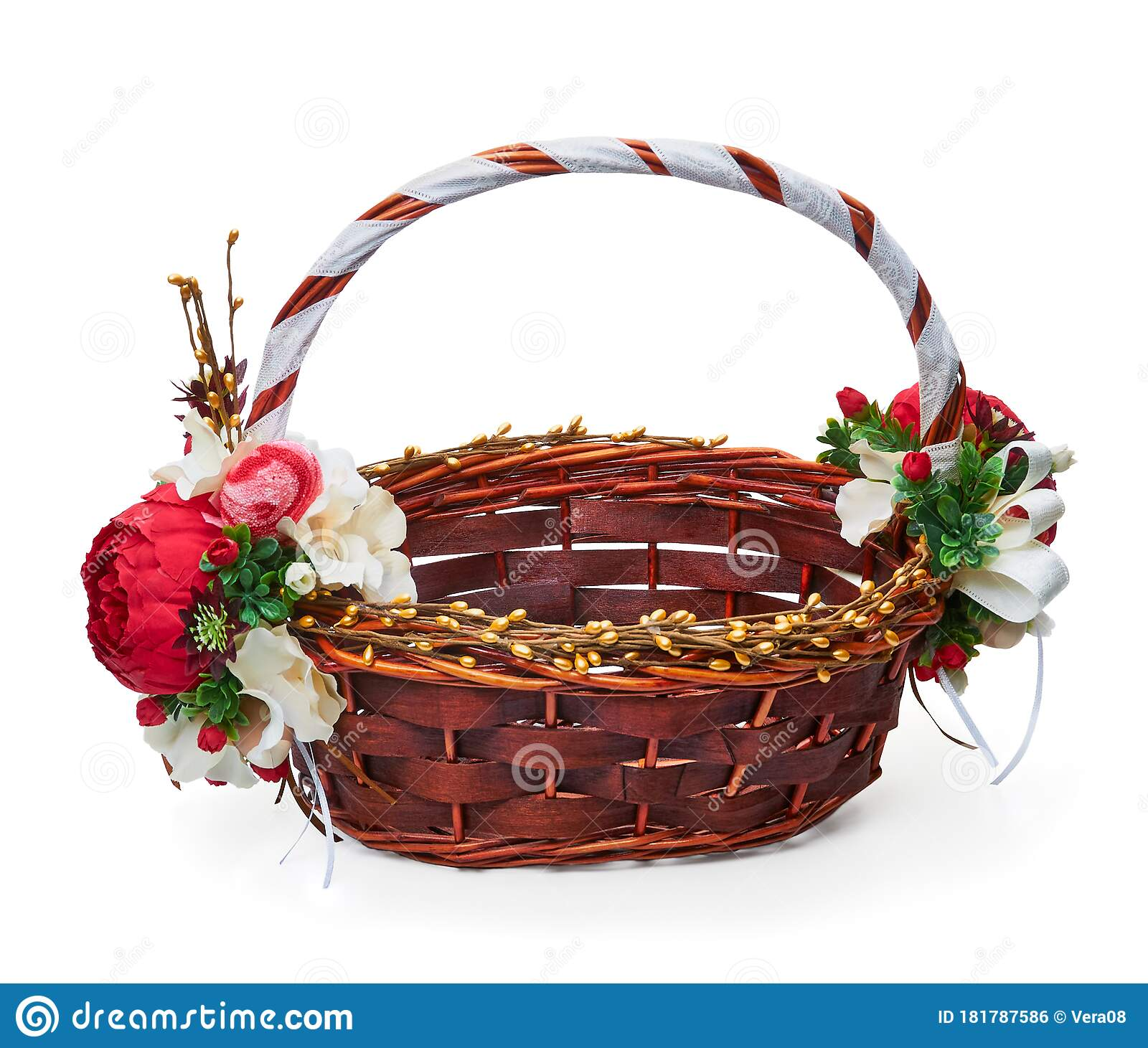 Festive Basket With A Flower Arrangement Stock Photo Image Of Isolated Festive 181787586
