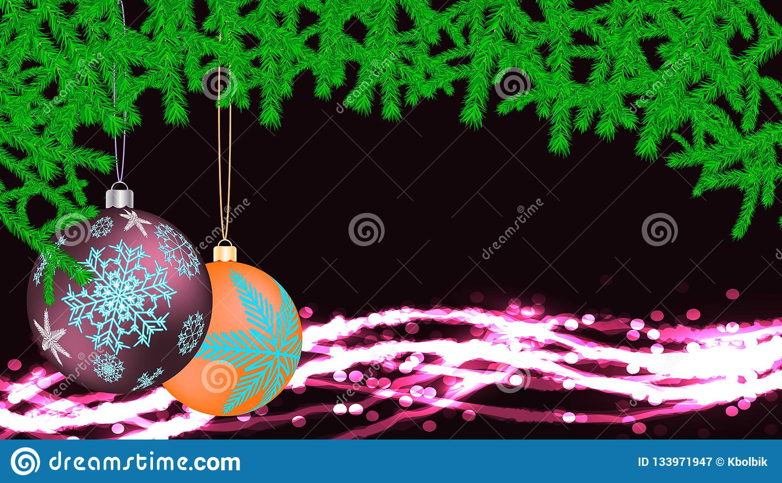 Festive beautiful Christmas card with New Year`s rounds of violet yellow balls, toys with a frame made of fir branches