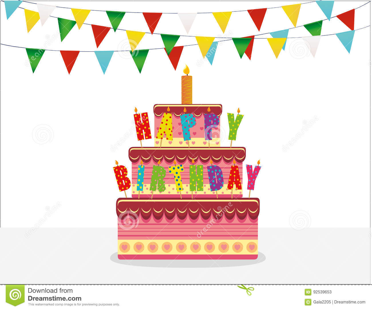 Festive Big Cake With Candle Letters Happy Birthday Greeting Card