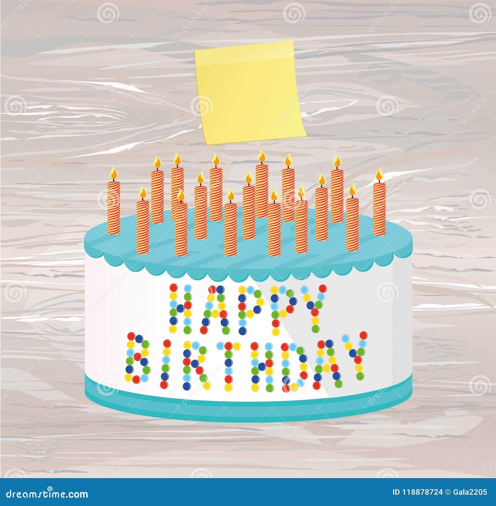 Festive Big Cake Happy Birthday Empty Yellow Sheet Of Paper F