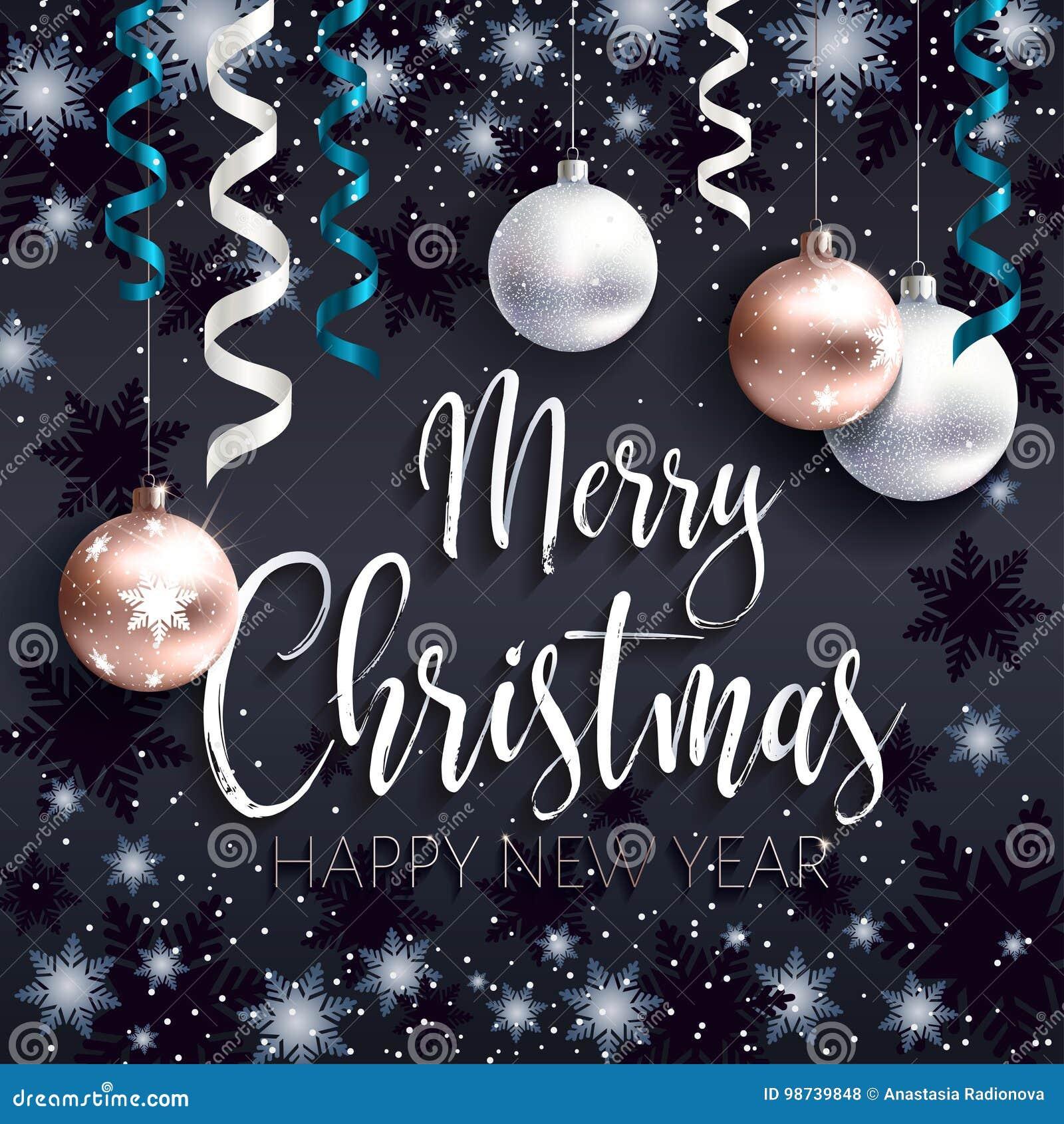 Festive Black Banner Merry Christmas Greetings Stock Vector