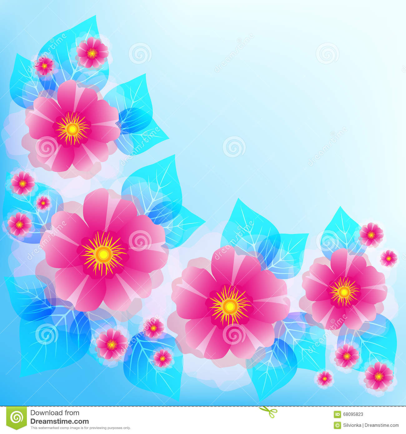 Festive Blue Background With Pink Flowers And Leaves Stock