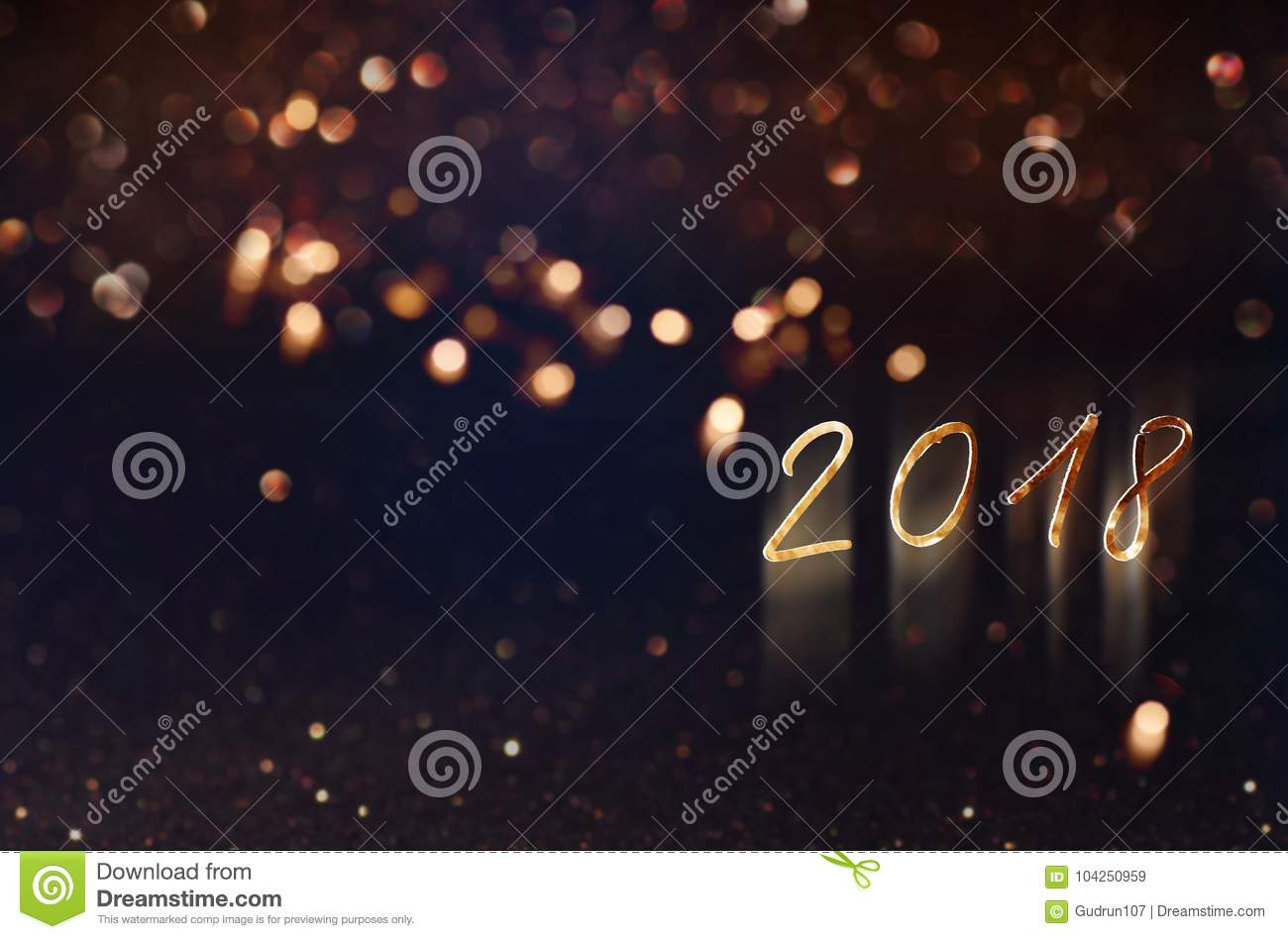 Festive bokeh background for new year 2018