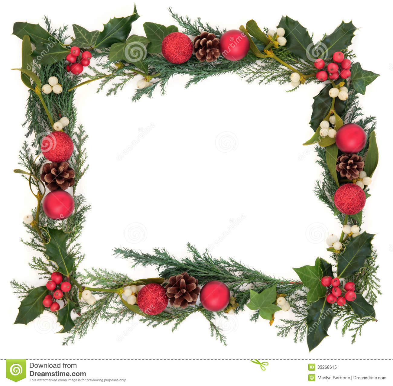 Christmas floral background border with a red bauble decorations ...