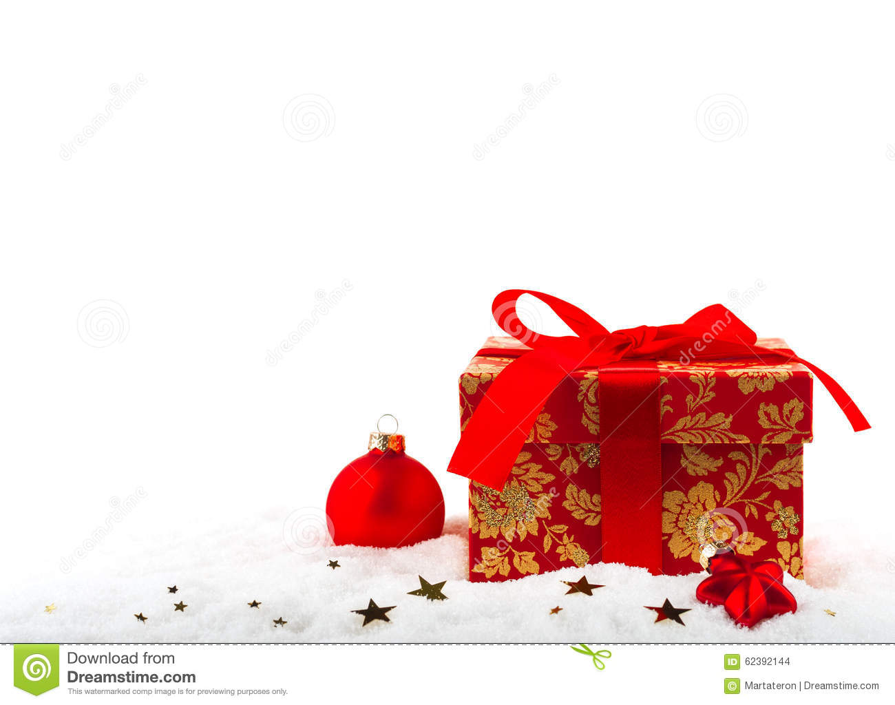 Festive Box With A Christmas Present Stock Photo - Image of ...
