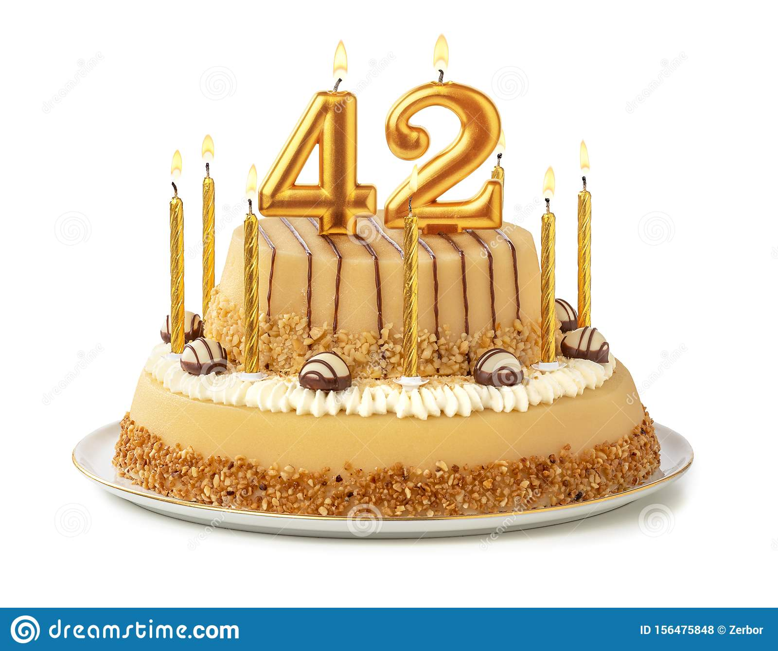 Marvelous Festive Cake With Golden Candles Number 42 Stock Photo Image Funny Birthday Cards Online Fluifree Goldxyz