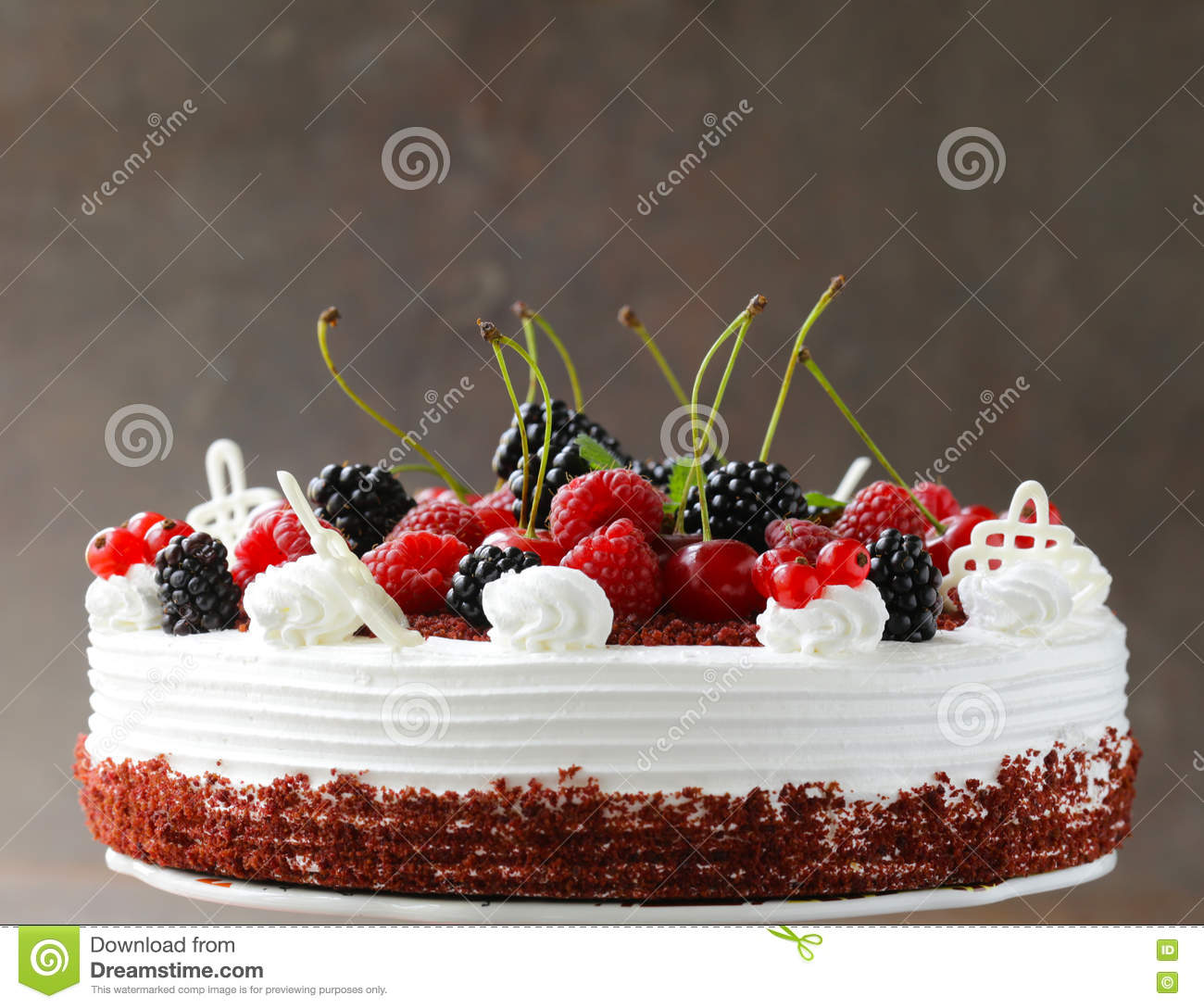 Festive Cake Red Velvet Decorated With Berries Stock Image