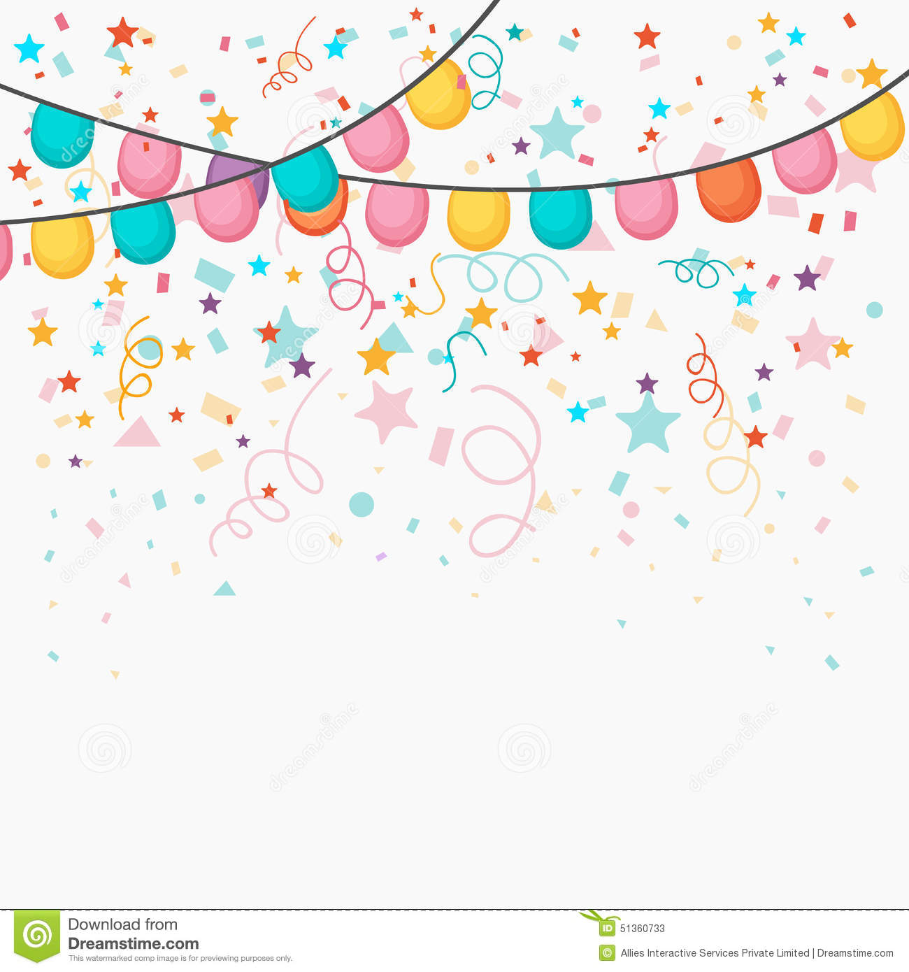 Festive celebration background with colorful balloons and confetti ...
