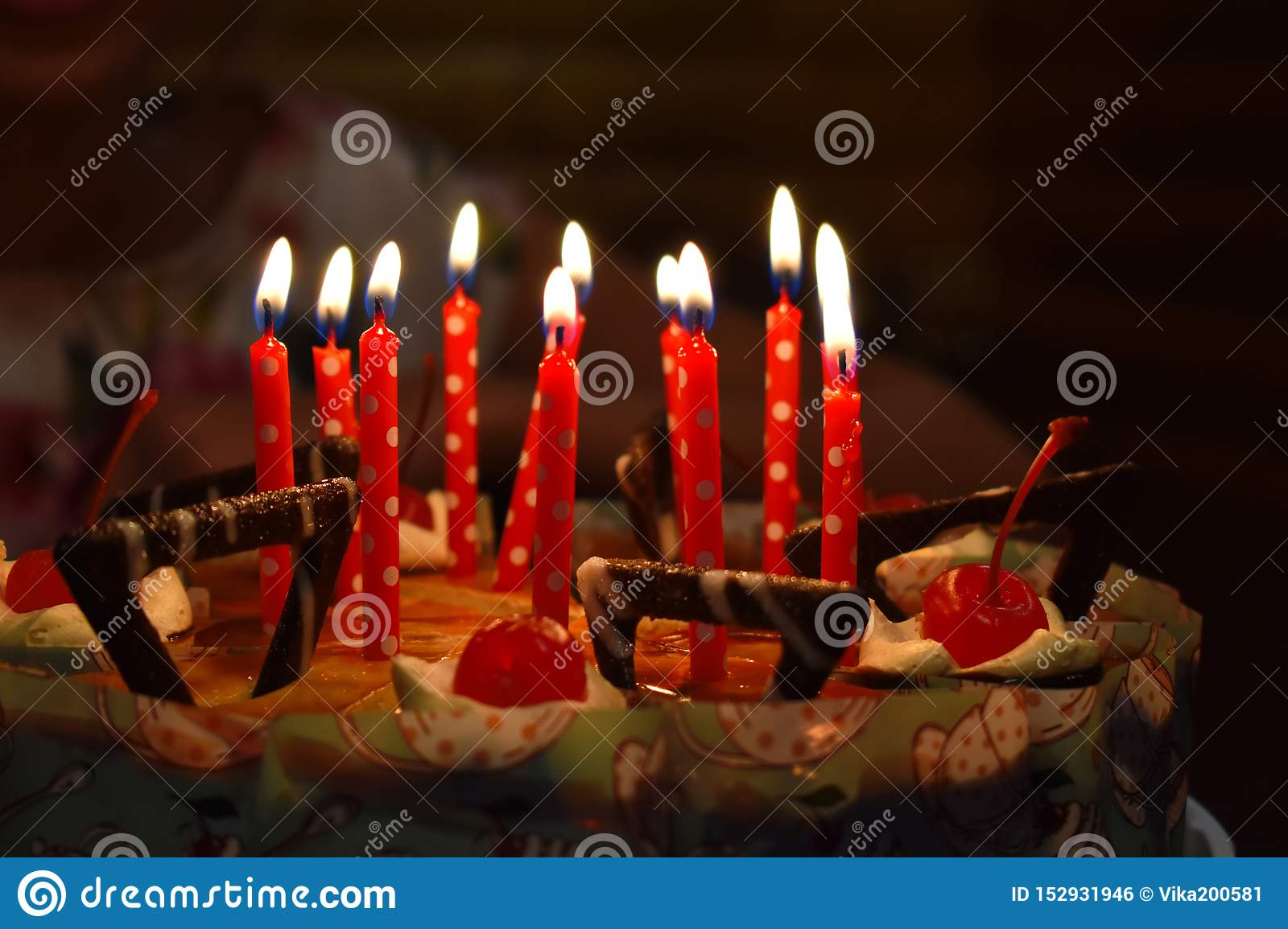 Super Festive Chocolate Cake With Candles Stock Photo Image Of Food Personalised Birthday Cards Veneteletsinfo