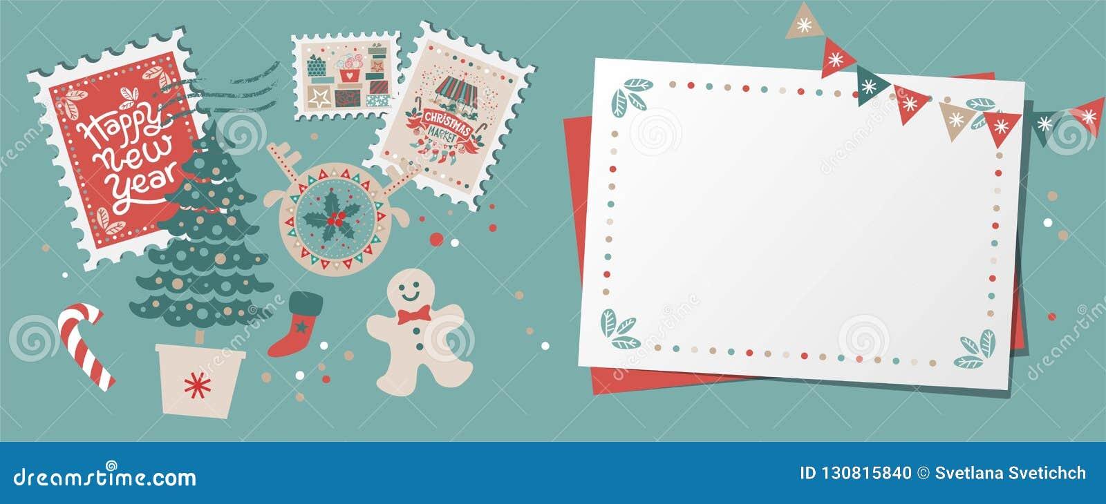 Festive Christmas border, frame, card