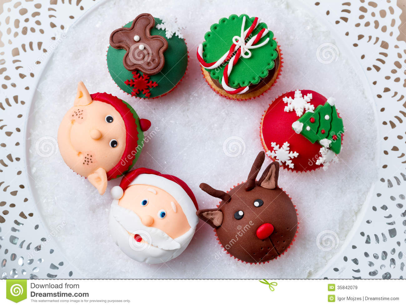 Download Festive Christmas cupcakes stock image. Image of decorative - 35842079