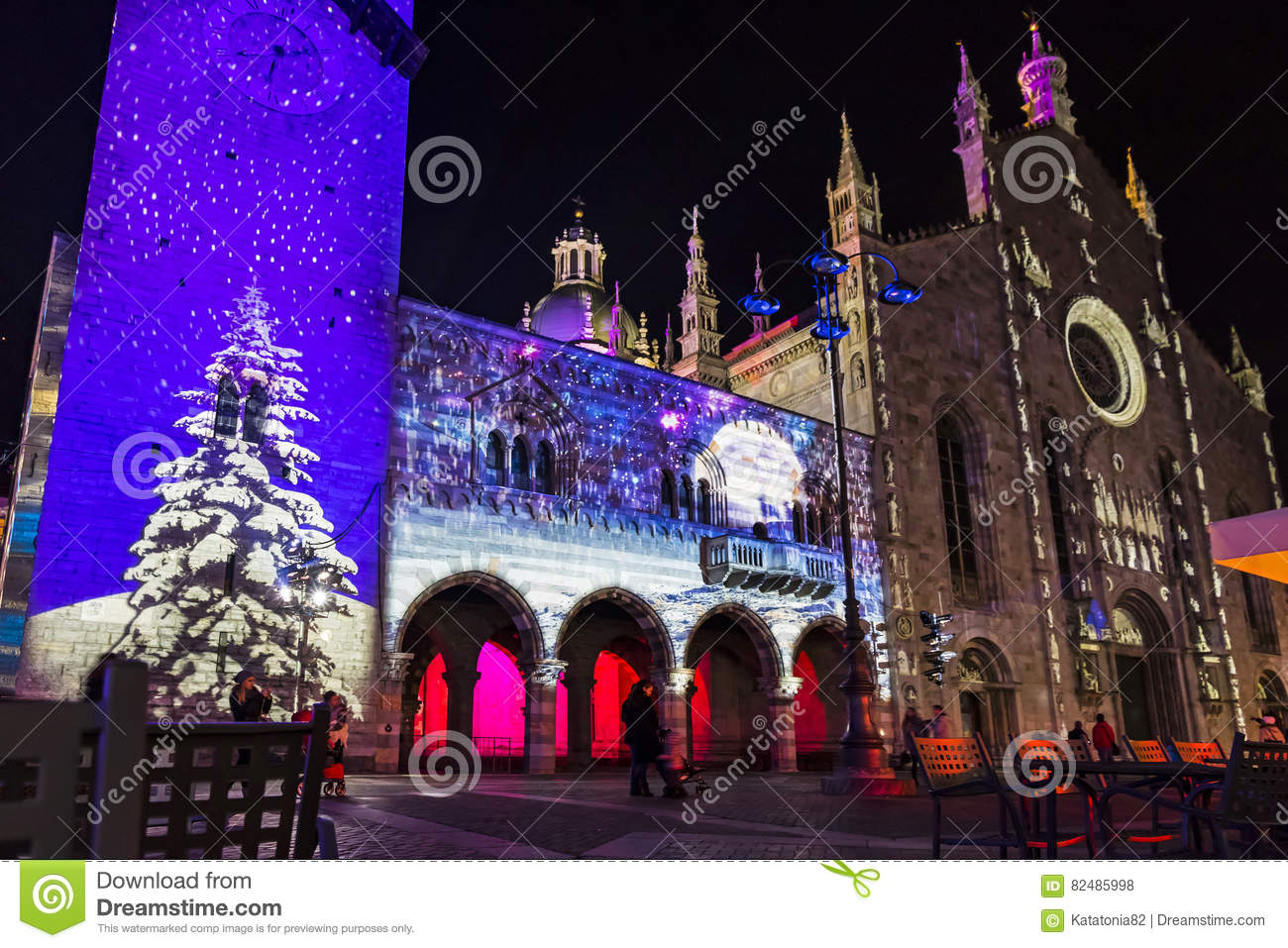 Festive Christmas decorations on facades of buildings in Como, I