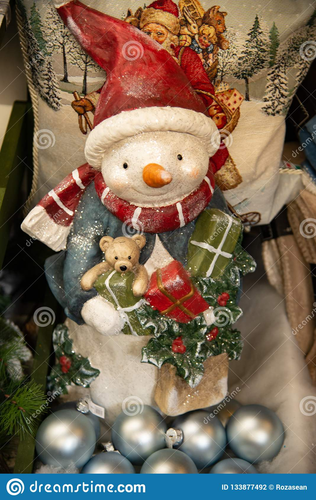 Christmas Decoration With White Bear In Terra Cotta Decorated