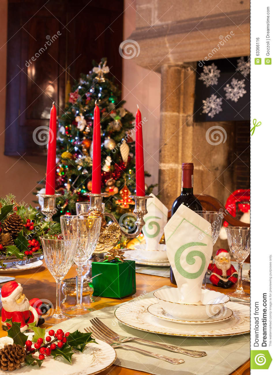 Festive Christmas Dinner Table Setting In Warm Light Stock