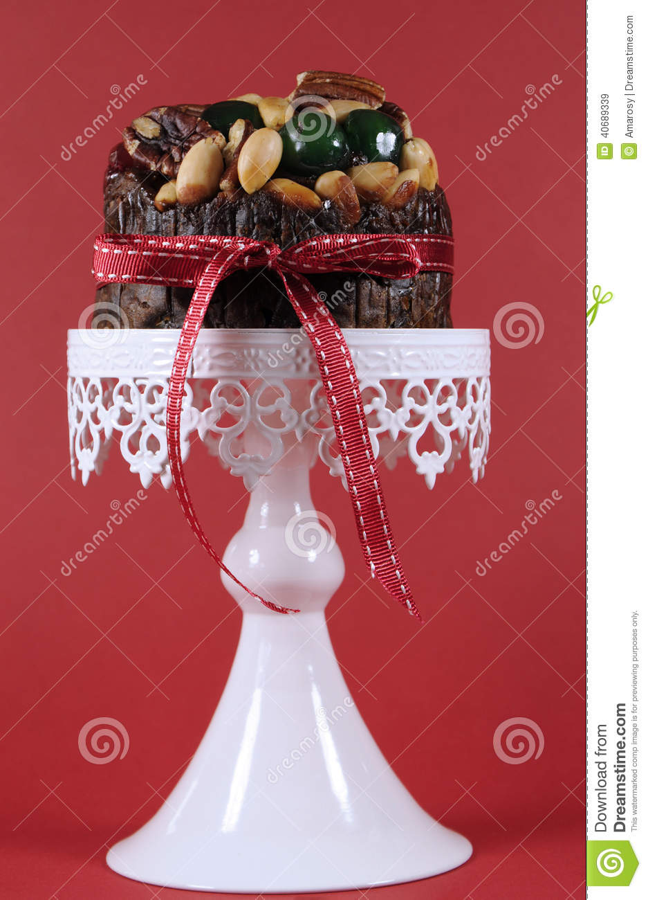 Festive Christmas Food, Fruit Cake With Glace Cherries And ...