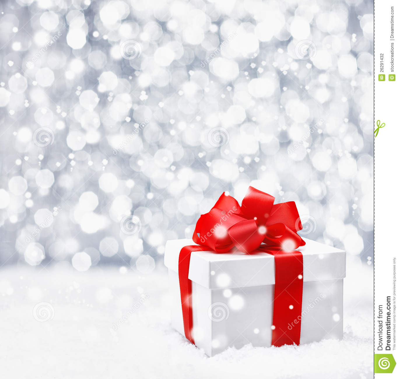 Festive Christmas Gift In Snow Stock Photo - Image of gift, object ...